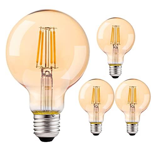 SANOVKIBOAEG LED Vintage Edison Glühbirne, Dimmbare Glühbirne G80 E27 4W (entspricht 40W) Edison Retro Style Braunglas 2700K Warmweiß LED Filament Dekorative Glühbirne - 4er Pack