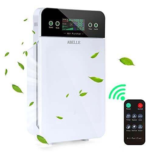 Luftreiniger für Schlafzimmer zu Hause, ABelle HEPA Lufterfrischer Intelligenter Luftfilter mit Timer für Rauch, Allergien, Hautschuppen, Geruch, Staubentferner, Büro, Küche, Desktop, Tischplatte