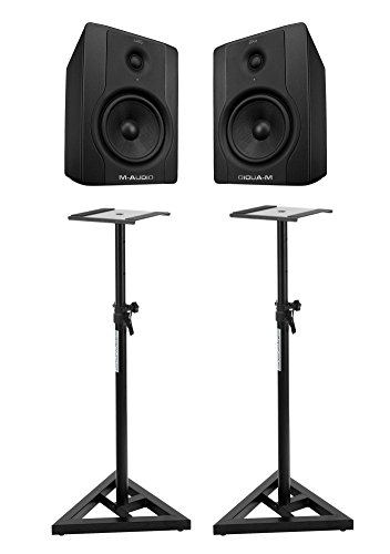 M-Audio BX5 D2 Studio Monitore (Paar) SET mit Pronomic Stativen (70 Watt, 5