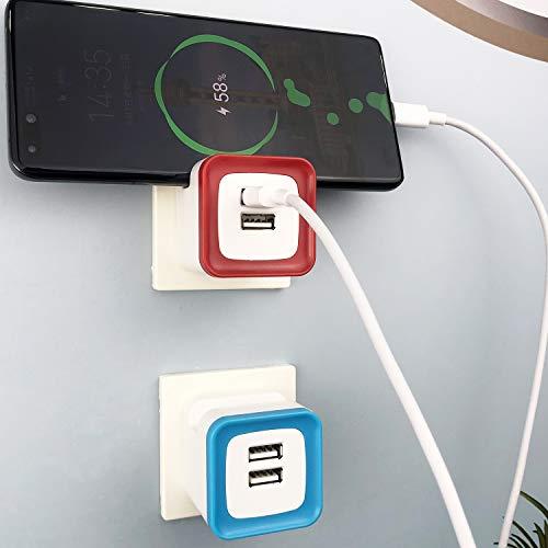 UCOMEN USB Steckdose mit Handyhalter, USB Netzteil USB Stecker 2.4A Ladeadapter 2 Ports, Rot und Blau-2er Pack