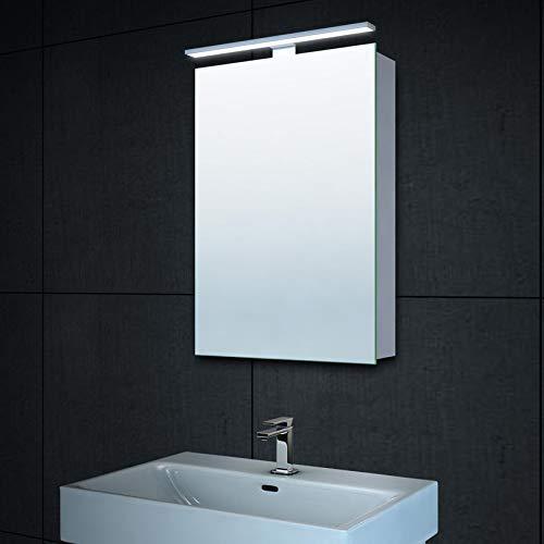Lux-aqua Alu LED Beleuchtung Gäste WC Spiegelschrank Badschrank Badezimmerschrank MC4601, Aluminium, Silber, 40 x 60 cm