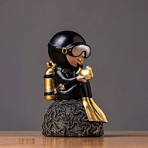 UIOXAIE Escultura Figuras de Buzo de Resina Negra Creativas Coreanas, Adornos Decorativos artesanales, Accesorios de decoración de Escritorio para el hogar, Sala de Estar, Escritorio de Regalo, buce