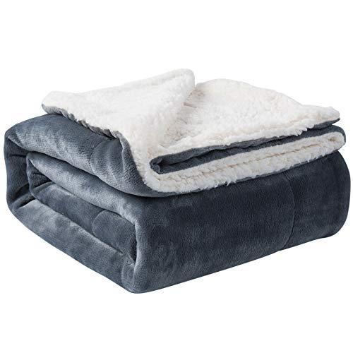 Nanpiper Sherpa Blanket Twin Warm Bed Blanket for Winter Cozy Soft Fuzzy Couch Throw Flannel Fleece/Wool Like Reversible Plush Blanket (Grey Twin Size 60'x80')