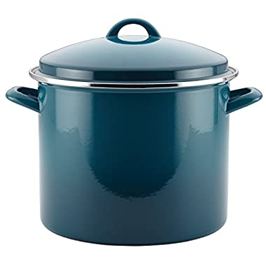 Rachael Ray Hard Enamel Nonstick Skillet 12-Quart Covered Stockpot, Marine Blue