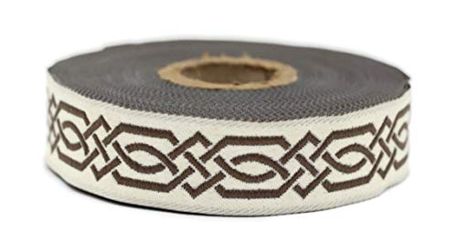11 Yard Spool 0.79 inches Wide Brown Celtic Claddagh Ribbon Embroidered Woven Ribbon Jacquard Ribbon 20272