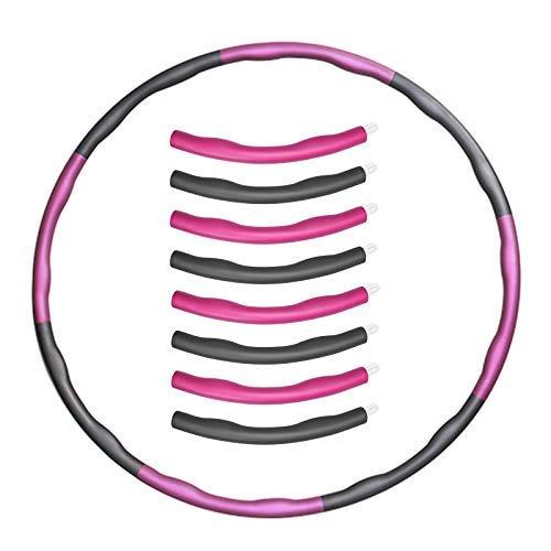 LYSP Cuerda para Saltar para Adultos Ejercicio de pérdida de Peso Hula Hoop Puede ser pérdida de Peso diseño Desmontable Profesional Soft Fitness Hula Hoop Ajustable 1.1 kg/Rosa Gris