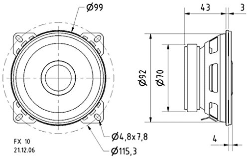 Visaton VS-FX10/4 luidspreker (bekabeld, 40 W, 70 – 22000 Hz, 4 Ohm, zwart)
