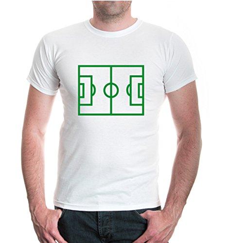 T-Shirt Fussball-Feld-XL-White-Green