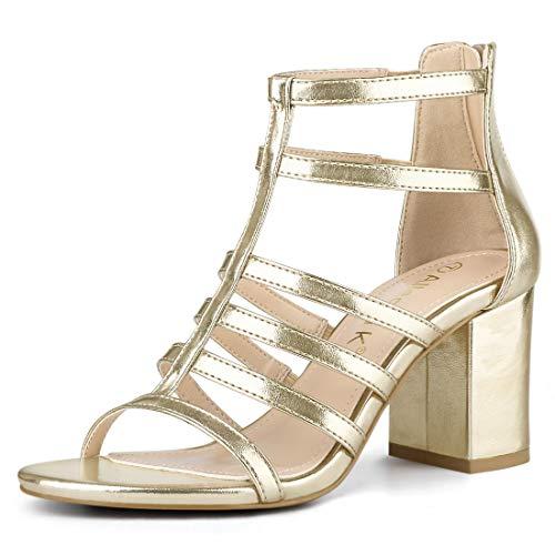 Allegra K Damen Peep Toe Roman Strappy Blockabsatz High Heels Sandalen Gold 38