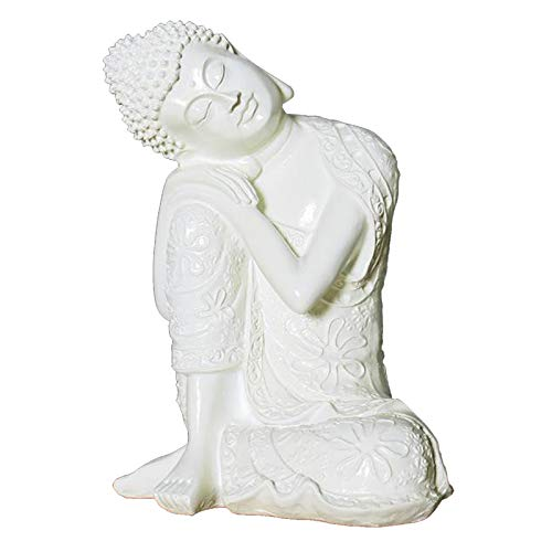 lahomia 23cm Resin White Sleeping Buddha Statue Crafts Living Room Decor Creative Decoration Housewarming Gift