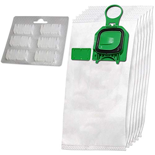 Juego de 6 premium bolsas de aspiradora de microfibra + 6 ambientadores adecuadas para Folletto Vorwerk Kobold 140, 150, VK 140, VK 140, VK150, VK150, FP140, FP150 - con cierre higiénico