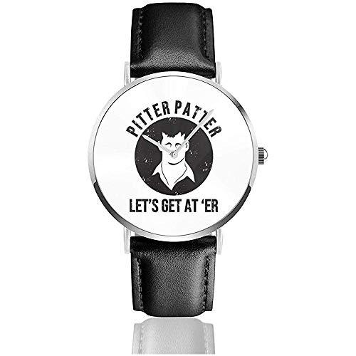 Pitter-Patter Unisex Einfache Silber Edelstahl Armbanduhren für Männer Frauen mit Pu-Leder Uhrenarmband Schnalle Geschenke