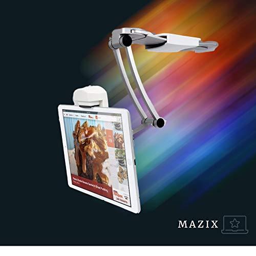 【MAZIX】 Soporte para tablet multifunción 2 en 1 para 7 a 12 pulgadas, soporte de pared para tableta, rotación de 360°, para cocina, sala de estar, soporte ajustable para iPad, iPhone, Samsung, etc.