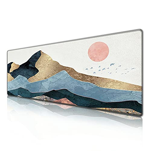 Desk Pad Protector,Mouse Pad with Non-Slip Rubber Base, Premium-Textured & Waterproof Mousepad with Stitched Edges,Large Desk mats for Computers,Laptop,Gaming,Office & Home,31.5 x 11.8 in,Sunrise
