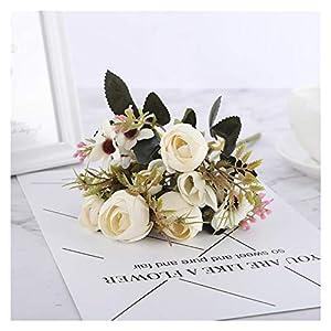 Silk Flower Arrangements YSQSPWS Artificial Flowers DIY Daisy Camellia Artificial Flowers Small Rose Bride Bouquet Xmas Party Decor Faux Fake Flowers Wedding Home Decoration Real Touch (Color : Daisy Rose White)