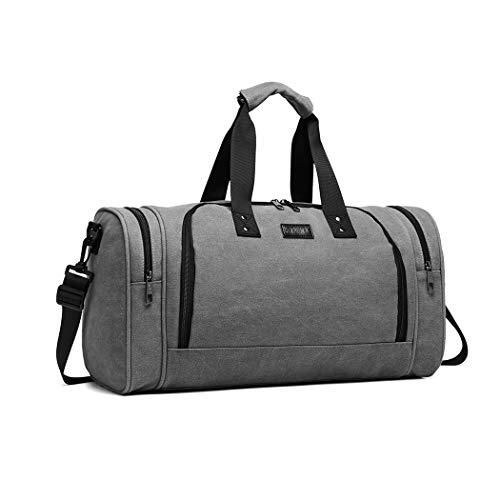 Kono Large Travel Capacity Canvas Duffel tote Bag Holdalls Weekend Overnight Bagfor Men Women (Grey)