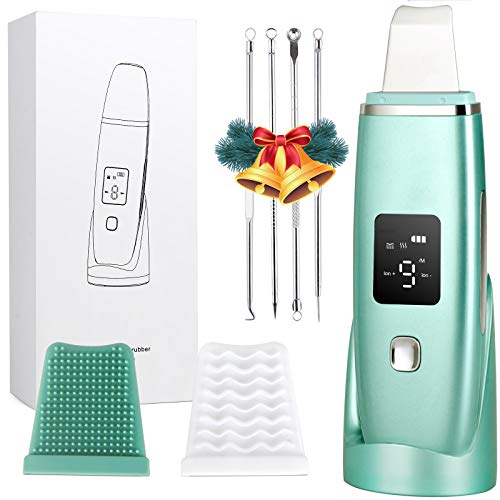 Face Skin Scrubber, Skin Spatula, Ultrasonic Blackhead Remover Pore Cleaner, Facial Scrubber Spatula with 4 Modes, Face Spatula for Deep Cleansing -with 2 Silicone Covers and Comedones Extractor Tool