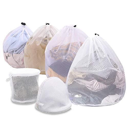 Wäschebeutel für Waschmaschine, SANBLOGAN 6er Set Wäschebeutel Waschmaschine mit Kordelstopper Schutz Waschnetz, Sockennetz Waschmaschine Waeschesack für Babywäsche, Unterwäsche, Socken, Kaschmir, BHS