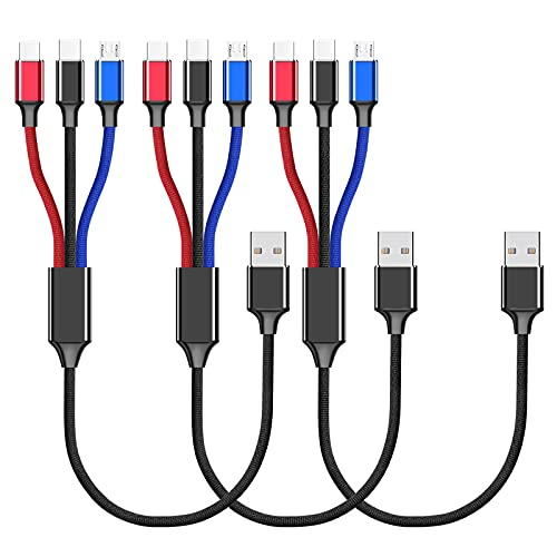 Multi USB Kabel kurz 30cm/0.3M 3 in 1 Universal USB Ladekabel Multi Anschlüsse Nylon Mehrfach Ladekabel Micro USB Typ C für Smartphone Handy und mehr(3Stück)