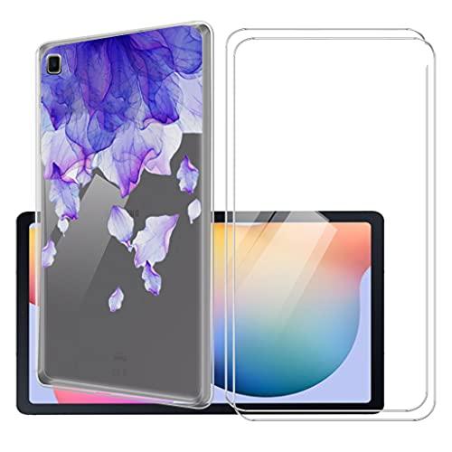 LKJMY para Samsung Galaxy Tab S6 Lite 10.4 Tableta Funda + 2 Piezas Cristal Templado,Transparente Carcasa Silicone Case Bumper,Anti-Golpes Cover Anti-Rasguño Cover Caso,Vidrio Templado-LKJB3