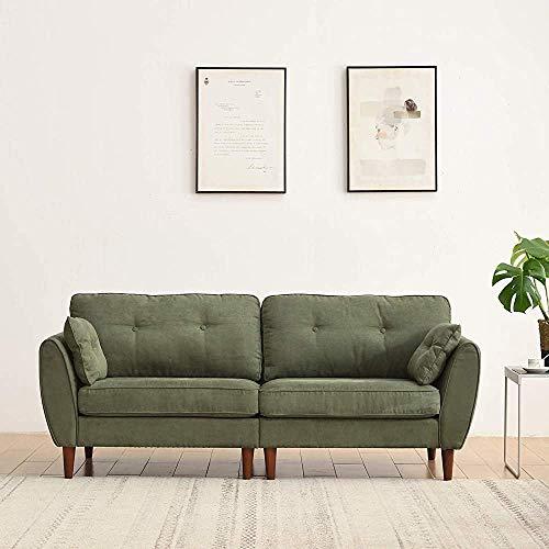 ACWZX Retro Look Proporciona una cómoda posición de asiento de cerezo muebles de tela de algodón sofá (verde, 2 plazas)
