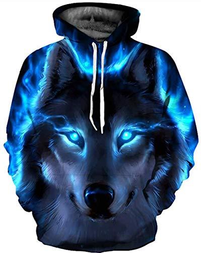 LaiYuTing Wolf Kopfdruck Paar mit Kapuze Langarm Pullover Mode Langarm Kordelzug Tasche Oben