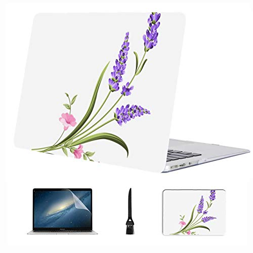Macbook Air Accessories Charming Romantic Purple Lavender Plastic Hard Shell Compatible Mac Air 13' Pro 13'/16' Case For Mac Protective Cover For Macbook 2016-2020 Version