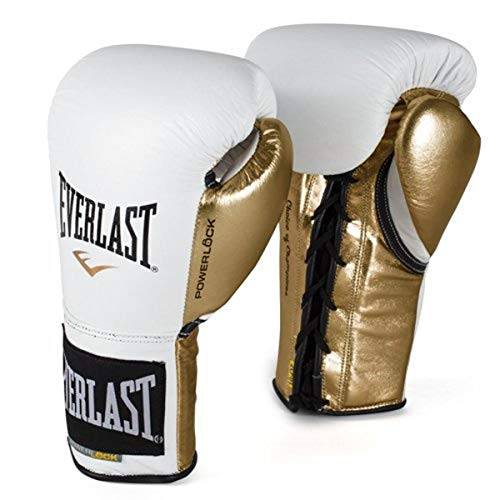 Everlast PowerLock Pro Fight Gloves 8oz Wht/Gld PowerLock Pro Fight Gloves