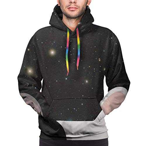 Men's Athletic Fit Hooded Sweatshirt Active Hoodie, Galaxy Starry Black White Cute French Bulldog Print, S