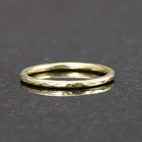 Solid 18k Gold Stack Ring - Hammered Gold Band 1.3mm