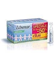 Solución salina fisiológica Libenar, solución isotónica estéril para la limpieza de ojos y nariz infantiles, 60 viales x 5 ml