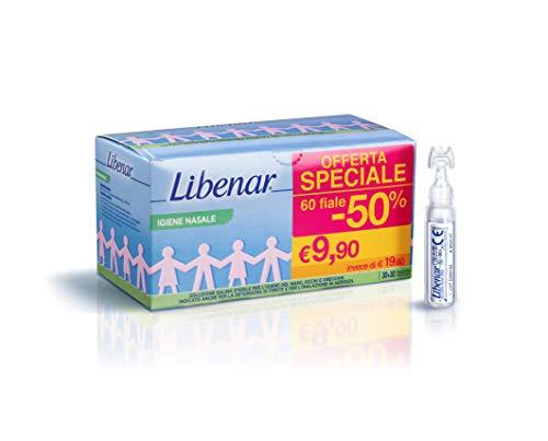 Libenar Physiologische oplossing voor zout, isotonisch, steriel, voor het reinigen van neus en ogen van kinderen en baby's, 60 flessen à 5 ml