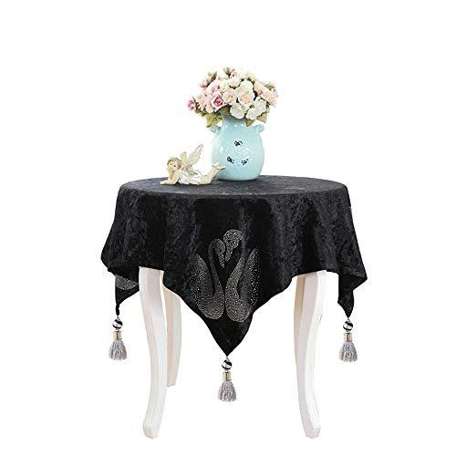 Tafelkleed Europese tafelkleed Nachtkastje Cover handdoek Fashion Engeland Black Couple Swan Tea tafelkleed Mooie tafelkleed (Size : 140 * 220cm)