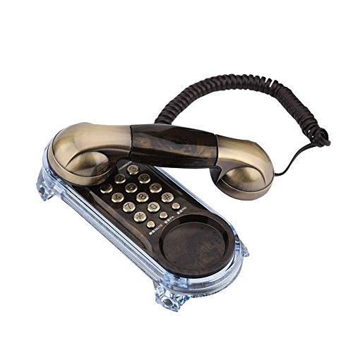 Vbestlife Teléfono Fijo, Textura de Metal, Retro, Elegante, Antiguo, montado en la Pared, teléfono de Escritorio con Alfombrilla Antideslizante para casa / hogar / Hotel (Bronce)