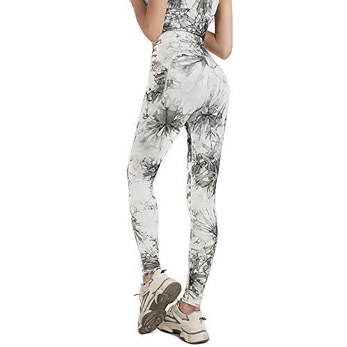 Pintura de tinta de estilo chino Pantalones de yoga de cintura alta con bolsillos, control de la barriga, Pantalones de entrenamiento para mujeres 4 vías Estirar Leggings de yoga con bolsillos,S
