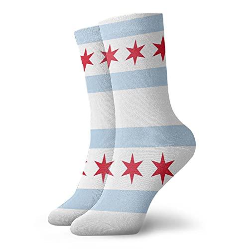 GXLLLW Calcetines deportivos con bandera de Chicago para hombres y mujeres, calcetín de elasticidad suave de poliéster