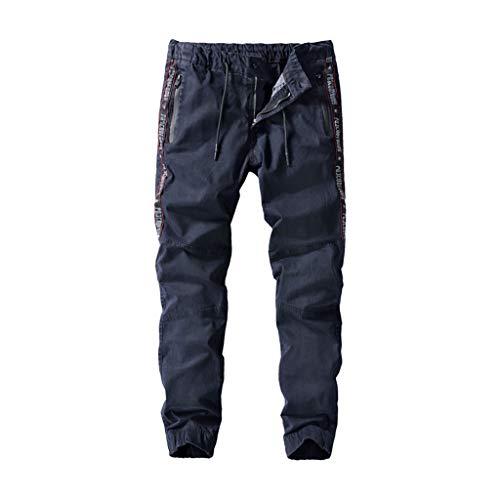 Yowablo Herren Slim fit Chinohose Stretch Hose Beiläufige gefaltete multi beiläufige Taschen-mittlere Taille (32,1- Dunkelblau)
