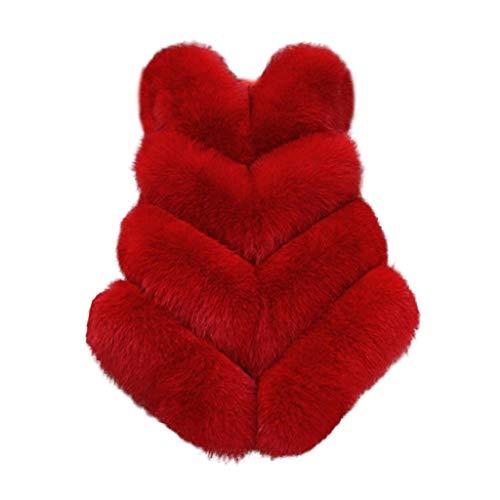 Xmiral Weste Mantel Damen Einfarbig Ärmellos Jacke Kunstpelz Flaumig Elegant Strickjacken Plüsch Slim Fit Jacke Winter Warm Outerwear...
