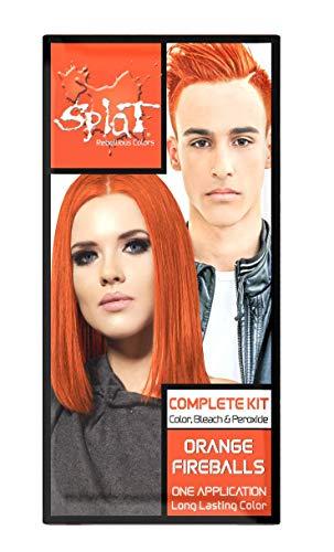 Splat | Orange Fireballs | Original Complete Hair Dye Kit | Semi-Permanent | 30 Wash | Long Lasting | Vegan and Cruelty-Free