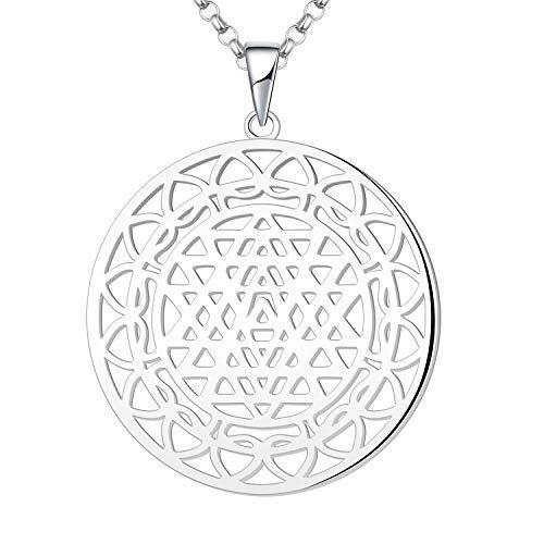 JO WISDOM Vrouwen Ketting,925 Sterling Zilveren Sri Yantra Mandala Bloemenhanger Spirituele Sieraden