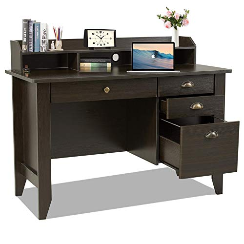 Computer Desk with Drawers and Hutch, Home Office Desk,Wood Frame Vintage Style Student Table with 4 Drawers & Bookshelf, PC Laptop Notebook Desk, Spacious Writing Study Table(Brown)