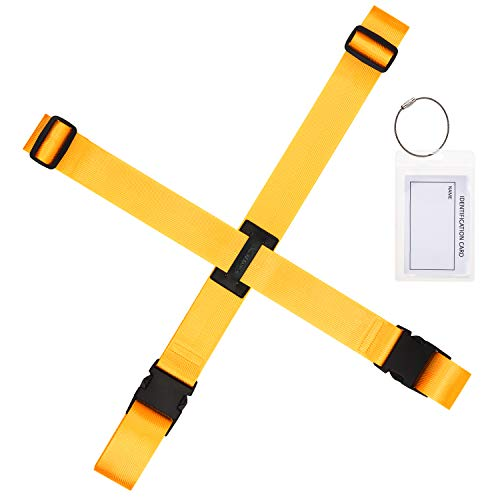 Gonex Luggage Straps, Adjustable Suitcase Belts Travel Accessories Bag Straps with ID Card Holder (Yellow 1 Set)