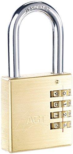 AGT Zahlenschlösser: Vorhänge-Schloss aus Messing mit 4-stelligem Zahlen-Code, 50 mm (Zahlenschloss Vorhängeschlösser)