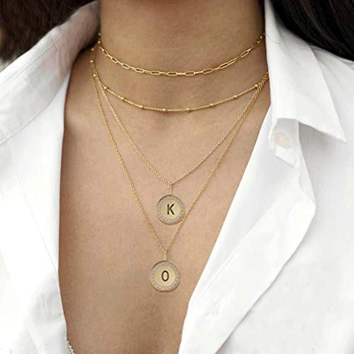 CXWK Collares para Mujer, Colgante de Moneda, Collar con Letras, joyería, Collar para Mujer, Cadena para el Cuello, joyería de Moda