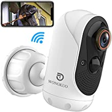 (2021 Upgraded) Wireless Security Camera Outdoor, WONGKUO Camera for Home Security, Rechargeable Battery Powered WiFi Camera, 1080P Video, Color Night Vision, Motion Detection, 2-Way Audio, Waterproof