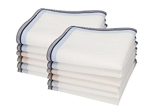 Betz 12 Stück Herren Stoff Taschentücher Set Leo 5 100% Baumwolle Größe 40x40 cm Farbe Dessin 1