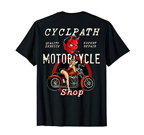Cyclpath Devil Motorcycle Shop Rockabilly Pin Up Girl bike T-Shirt