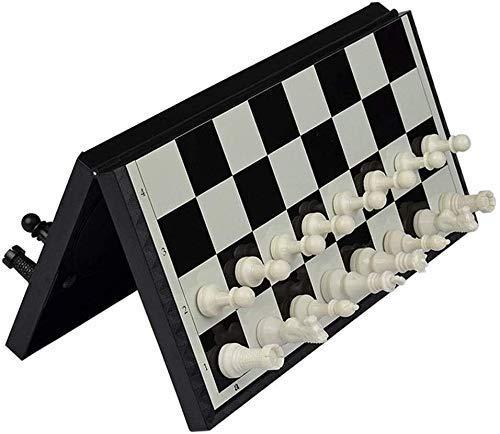 ZHBH International Chess 12.6in-Adult Estudiante Plegable portátil en Blanco y Negro Piezas de ajedrez ajedrez, ajedrez magnético Juguetes educativos tridimensionales para niños ajedrez Tablero d