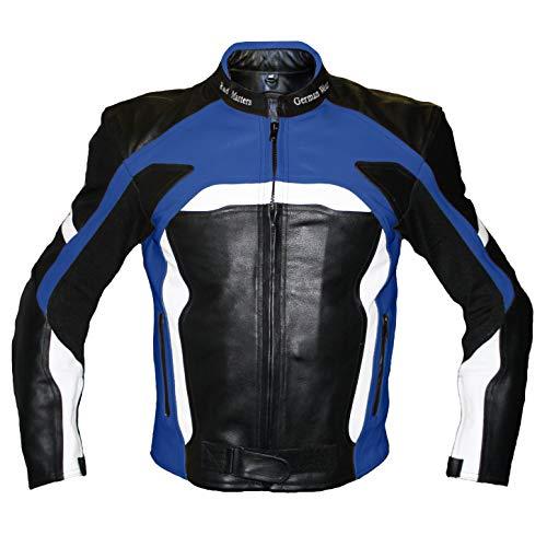 German Wear Motorradjacke Lederjacke Biker lederjacke 4x Farbauswahl, Frabe:Dunkelblau;Größe:XL