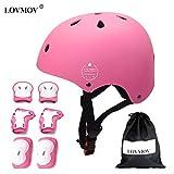 LOVMOV Ensemble d'équipement de Protection d'enfants réglable Casque de vélo d'enfants Genou Pads coude Pads Poignet pour BMX...